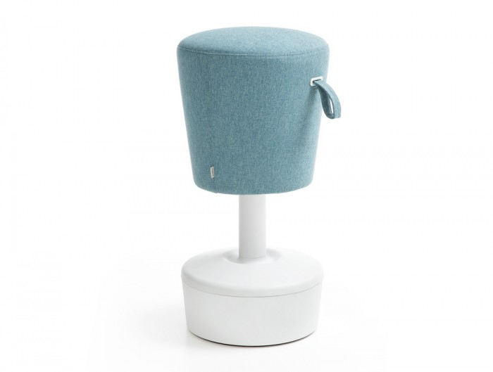 Mickey Pouffe Movement Chair with White Plastic Base in Sky Blue Colour Position 2