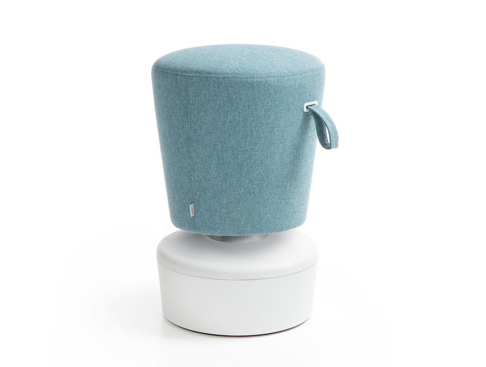 Mickey Pouffe Movement Chair with White Plastic Base in Sky Blue Colour Positon 3