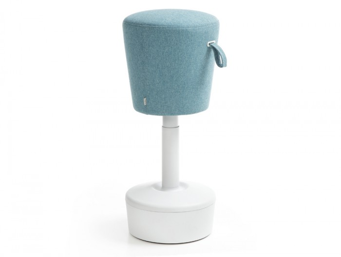 Mickey Pouffe Movement Chair with White Plastic Base in Sky Blue Colour