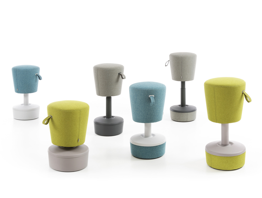 Mickey Pouffe Movement Chairs with Fabric and Plastic Base in Funky Colours