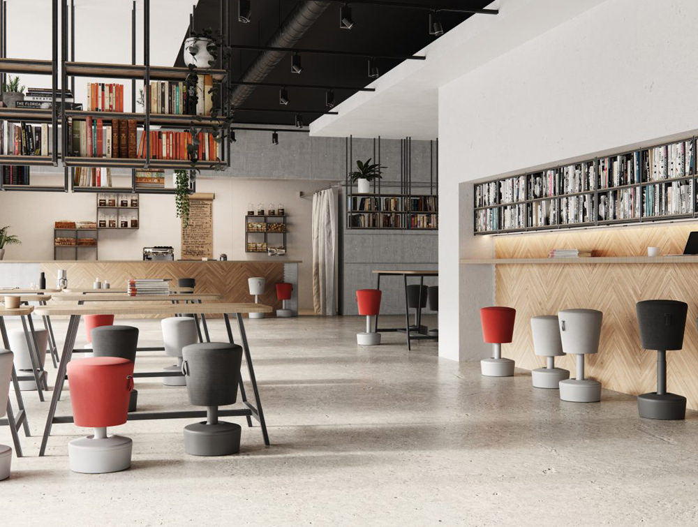 Mickey-Pouffe-Movement-Chair-in-Funky-Colours-with-Plastic-Base-in-Office-Interiors