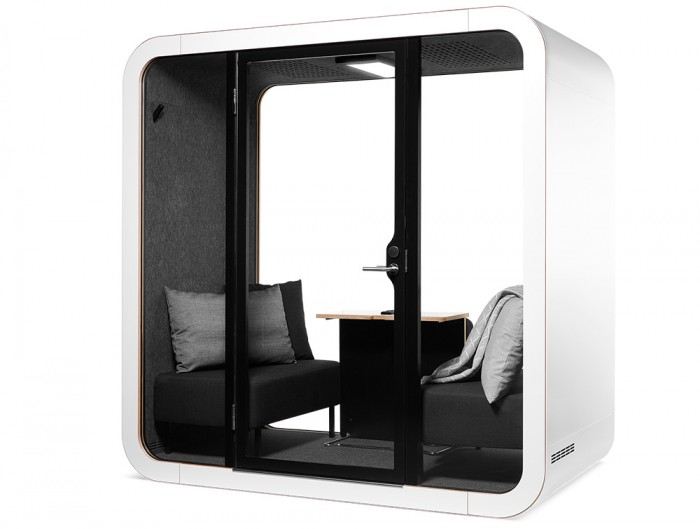 Framery Smart Office Acoustic Meeting Pod with Black Sofas and Grey Pillows