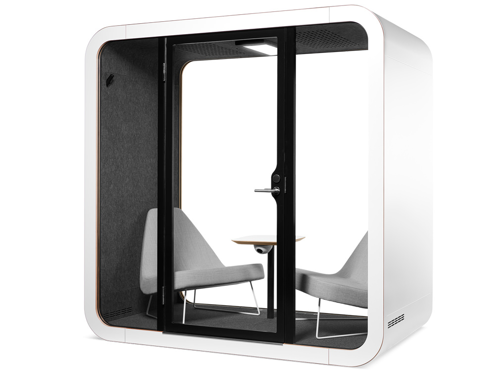 Framery smart Office Acoustic Meeting Pod with Grey Chairs and Turnable Table