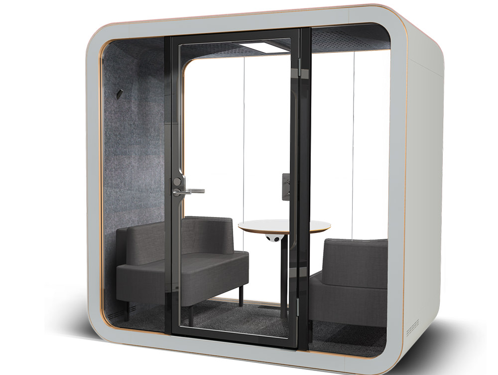 Framery Smart Office Acoustic Meeting Pod with Grey Finish and Grey Pillows