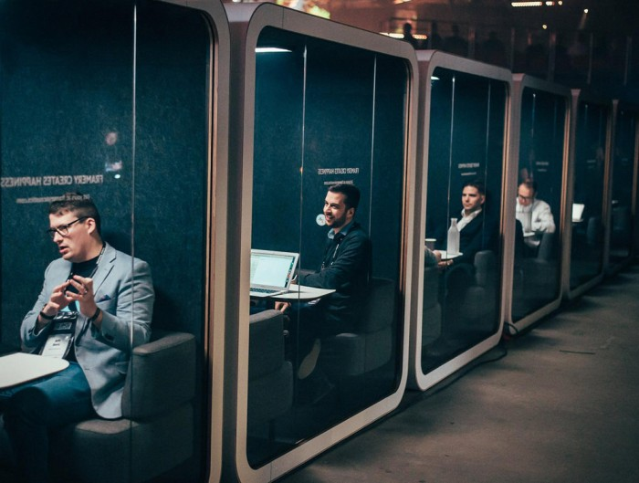 Framery Smart Office Acoustic Meeting Pod with Laptop and White Table
