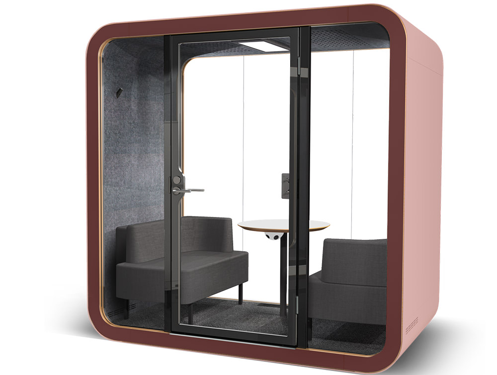Framery Smart Office Acoustic Meeting Pod with Pink and Purple Finish