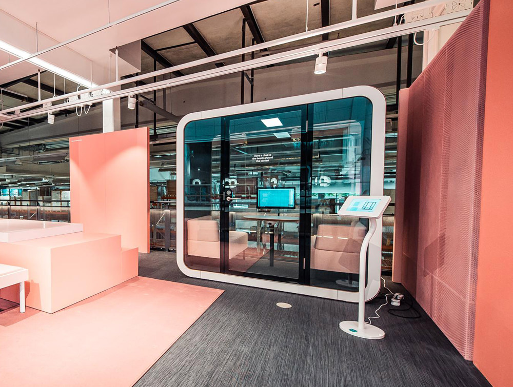 Framery Smart Office Acoustic Meeting Pod with White Finish and Sofas