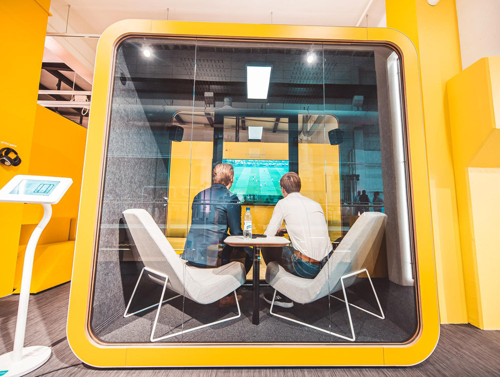 Framery Smart Office Acoustic Meeting Pod with Yellow Finish and Screen