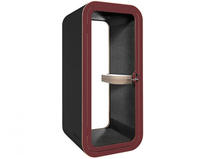 Framery Smart Office Acoustic Phone Booth with Wooden Table and Black and Purple Finish