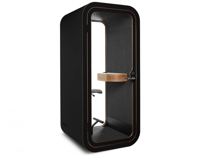 Framery Smart Office Acoustic Phone Booth with Wooden Table and Black Finish
