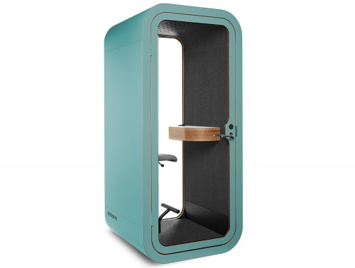 Framery Smart Office Acoustic Phone Booth with Wooden Table and Blue Finish