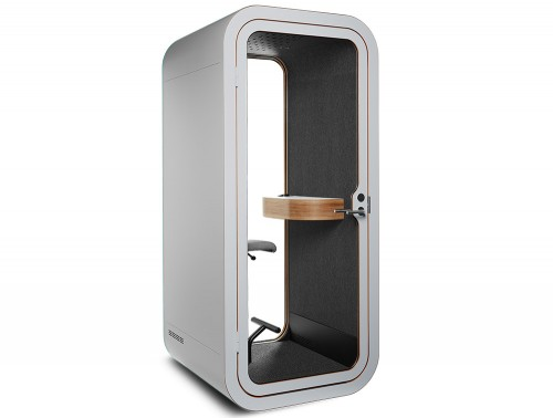 Framery Smart Office Acoustic Phone Booth with Wooden Table and Grey Finish