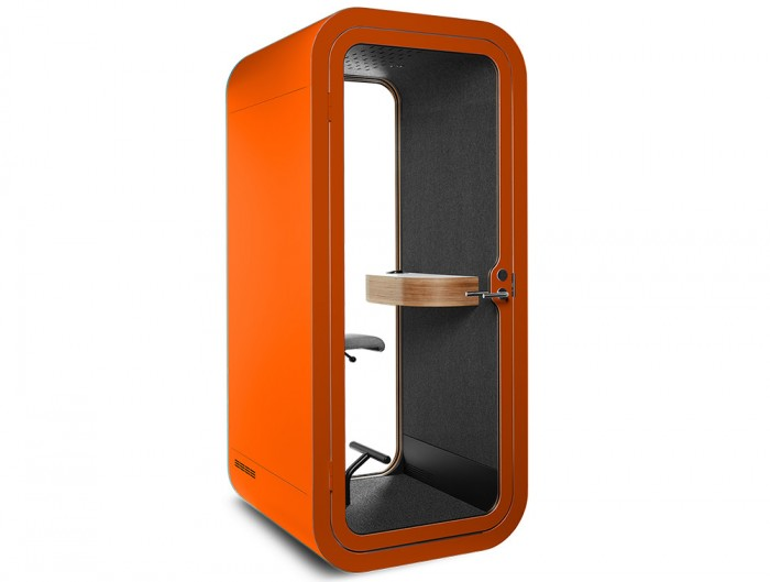 Framery Smart Office Acoustic Phone Booth with Wooden Table and Orange Finish