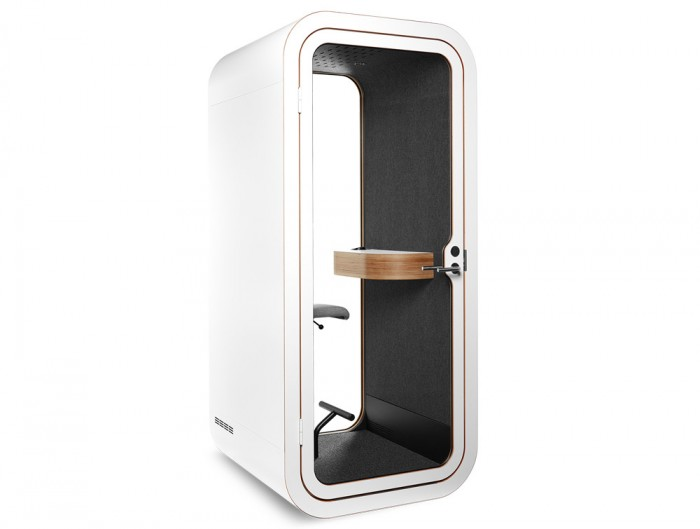 Framery Smart Office Acoustic Phone Booth with Wooden Table and White Finish