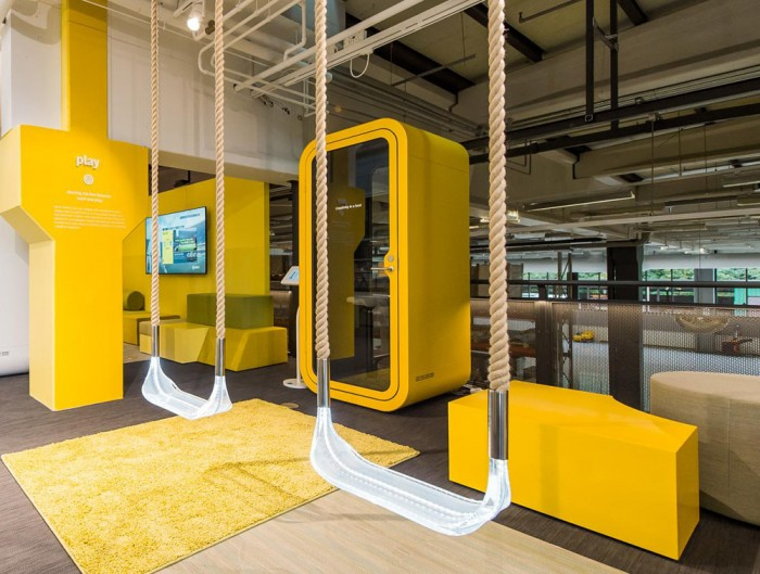 Framery Smart Office Acoustic Phone Booth with Yellow Finish and Adjustable Tovi Stool