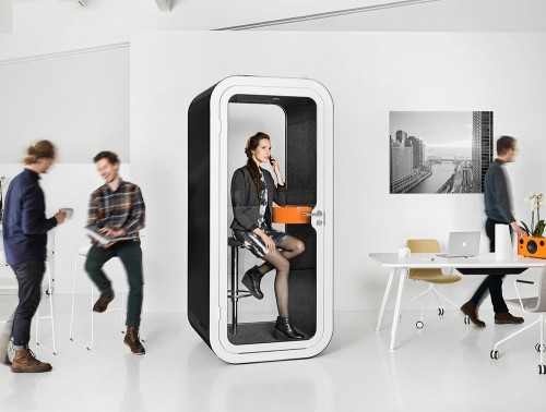 Framery Smart Office Phone Booth with Orange Table and Black and White Exterior Finish