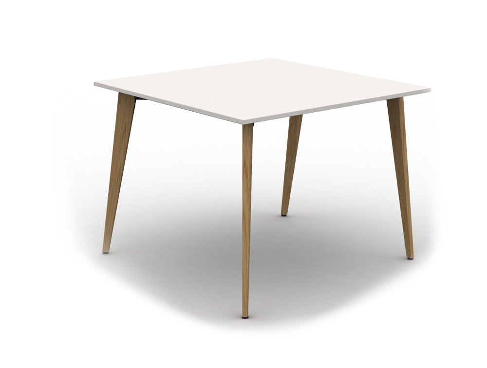 Mobili Pyramid High Back to Back Desk with Wooden Legs