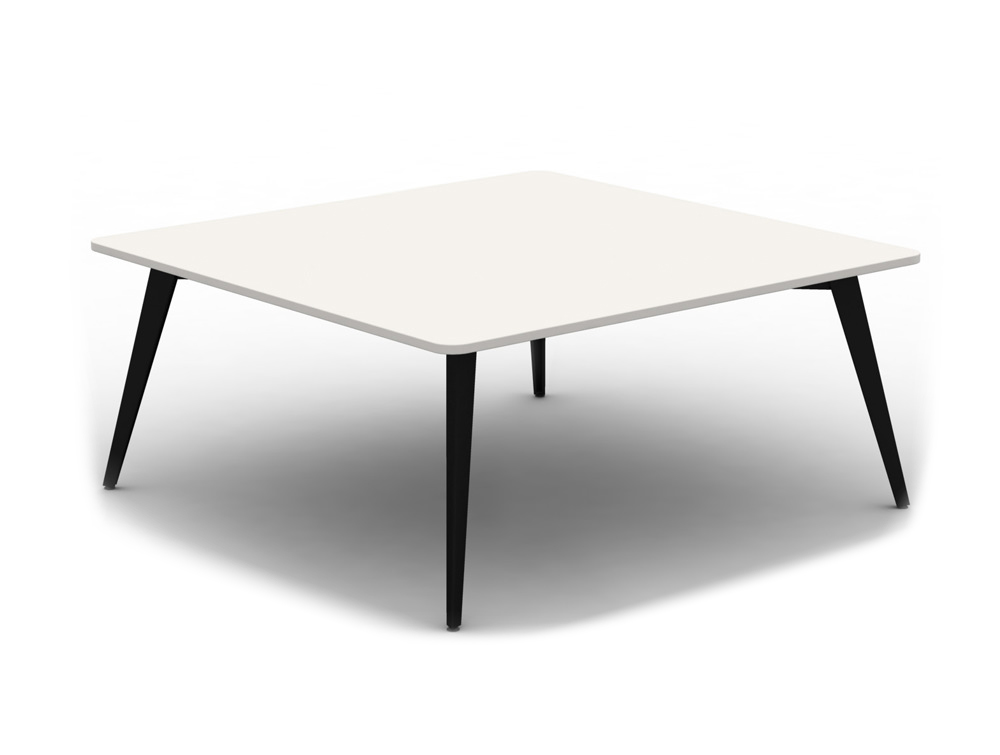 Mobili Pyramid White Meeting Table with Steel Legs
