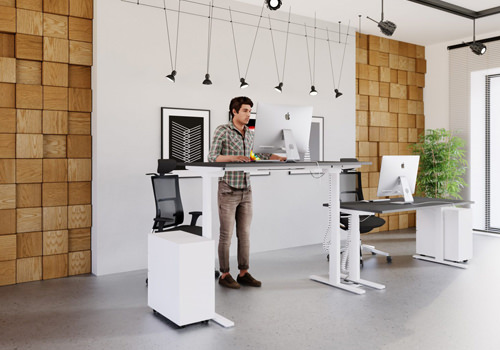 man Standing at a Leap Sit-Stand Desk