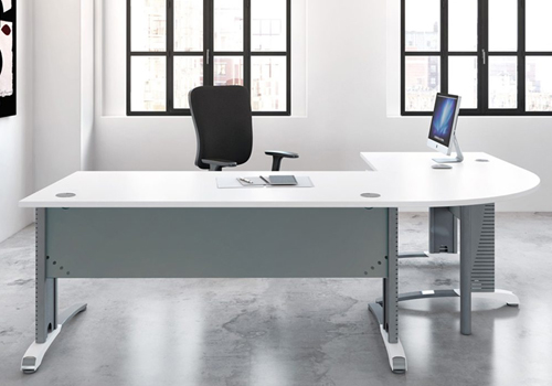 Radial Executive Desk with White Top and Metallic Legs