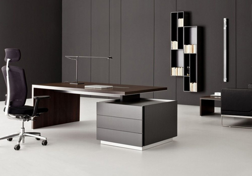 Executive Office Desk with Storage in Walnut