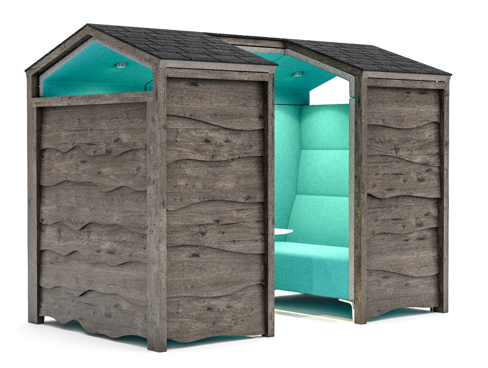 Huddle Rustic Shed Meeting Pod with Light Blue Upholstered Finish