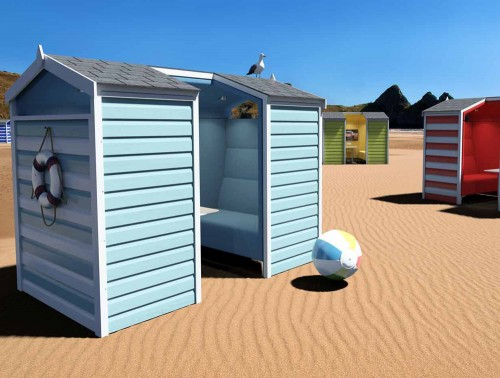 Huddle Beach Themed Shed Meeting Pod with Blue and White Finish