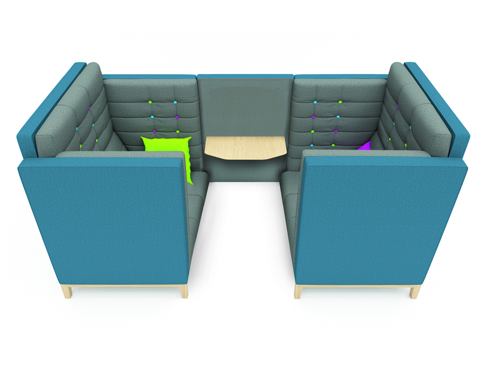 Jig Cave Two Seater Meeting Pod with Wooden Legs and Colored Pillows