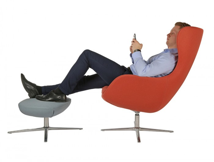 ILK Tilting Visitor 4 Star Swivel Red Chair with Grey Footrest