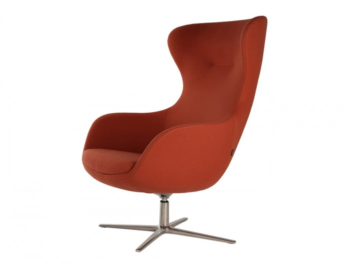 ILK Tilting Visitor 4 Star Swivel Red Chair with Metal Legs