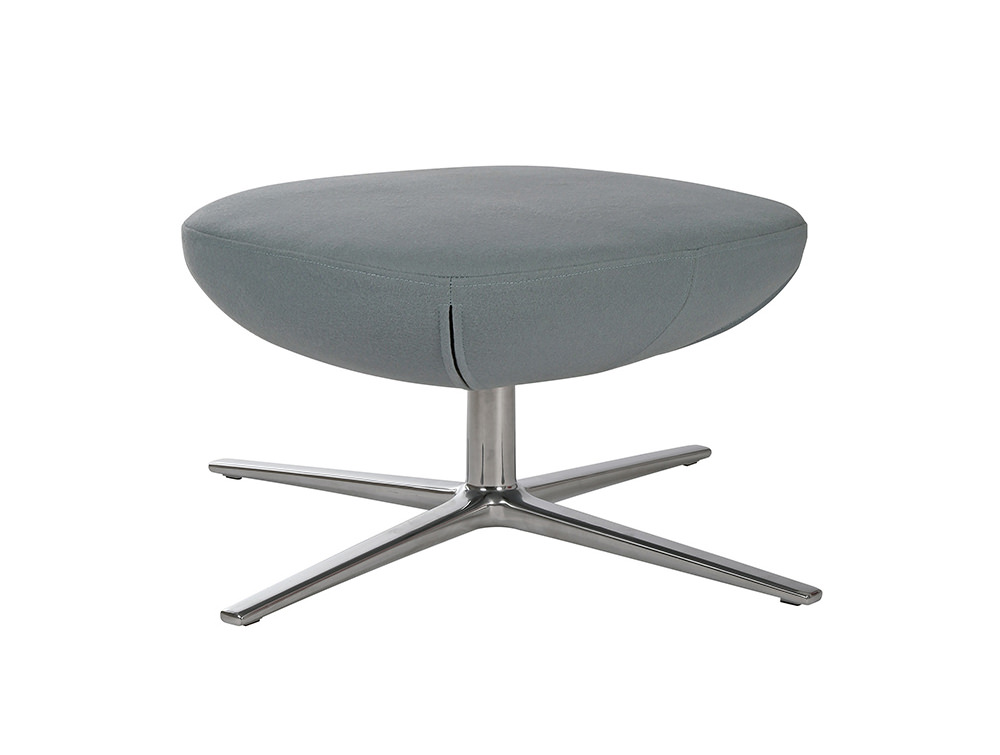ILK Tilting Visitor Grey Footstool with Metal Legs