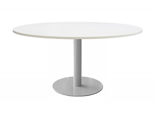 Giant Round 8 Seater Meeting Table with White Finish and Metal Leg