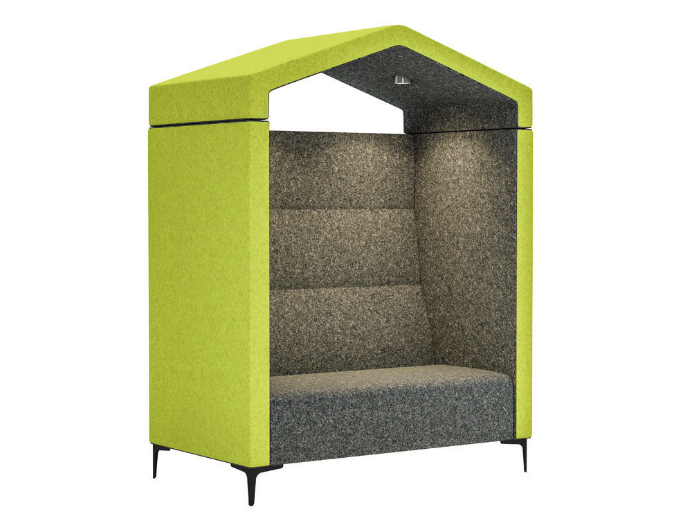 Huddle Arbour Acoustic Seating Pod with LED and Green Upholstered Finish