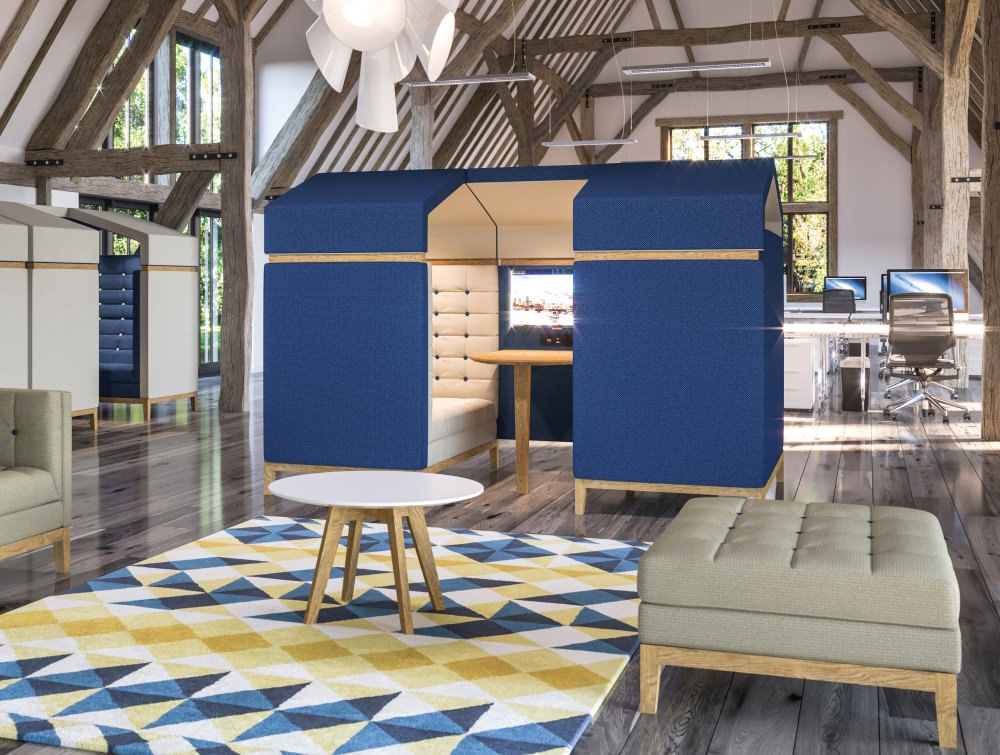 Jig Shed Modern Acoustic Meeting Pod with Blue Upholstered Finish and Wooden Feet