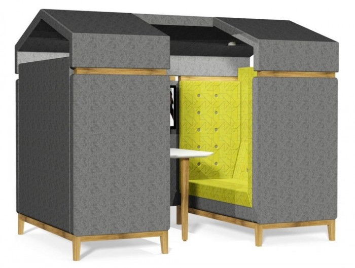 Jig Shed Modern Acoustic Meeting Pod with Grey Finish and Wooden Feet