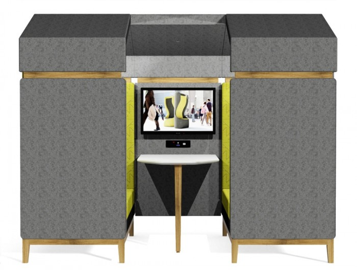 Jig Shed Modern Acoustic Meeting Pod with Grey Upholstred Finish and White Table