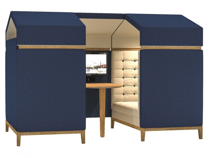 Jig Shed Modern Acoustic Meeting Pod with Television Screen and Wooden Table