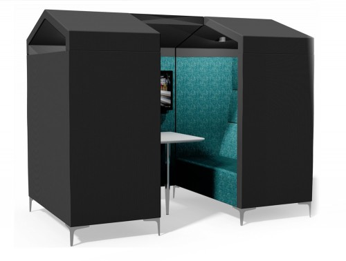 Huddle Upholstered Shed Meeting Pod with Blue Pattern Finish