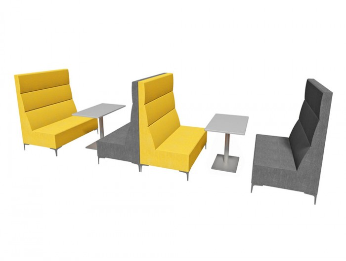 Huddle Modular Booth High Seating Pod with Yellow Finish and Grey Table