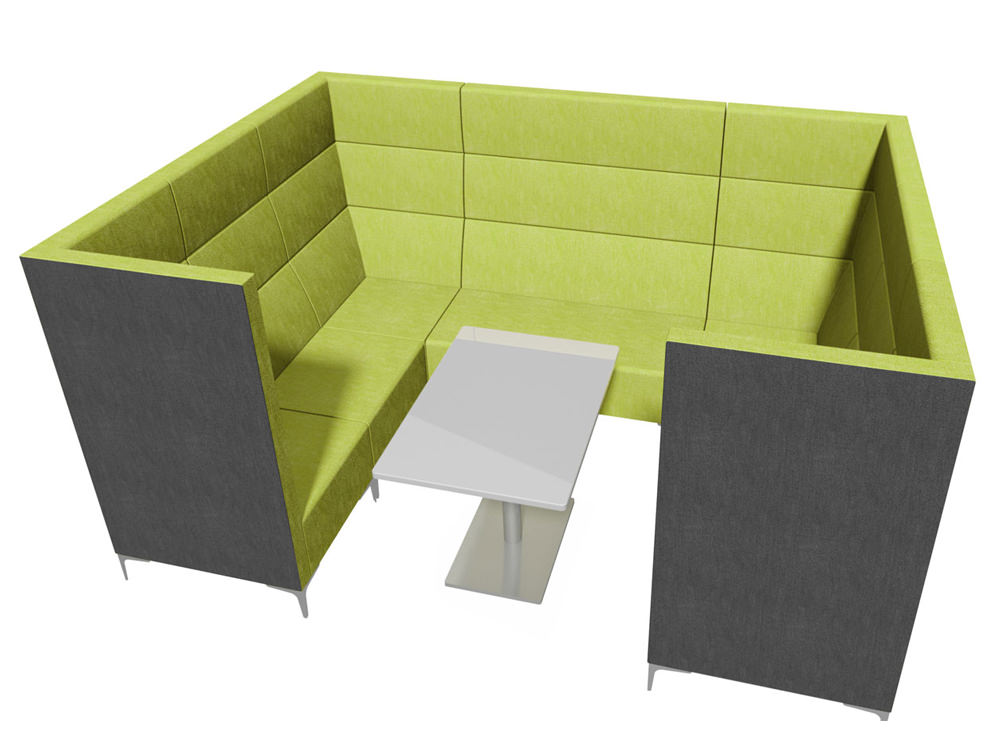 Huddle Modular Cave High Seating Pod with Coffee Table and Green Finish