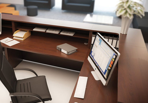 Corner Reception Desk in Beech with Desktop and Storage Accessories