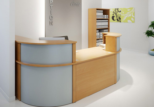 Beech Reception Desk with Curved Sides