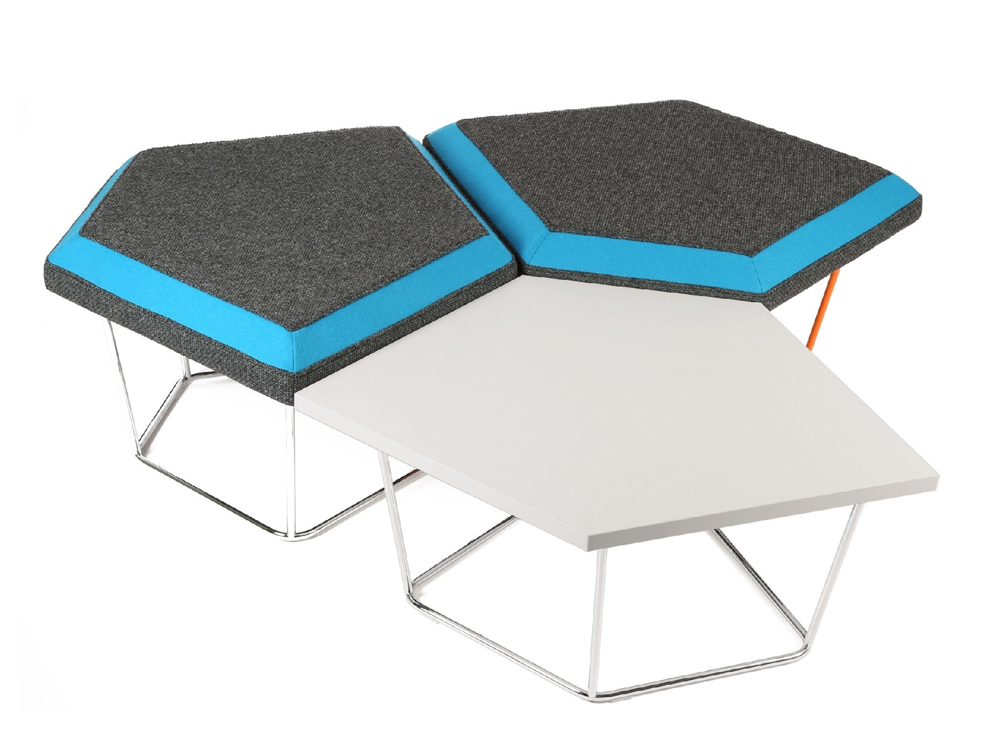 Nest Soft Seating with Central Power Hub and Grey Material