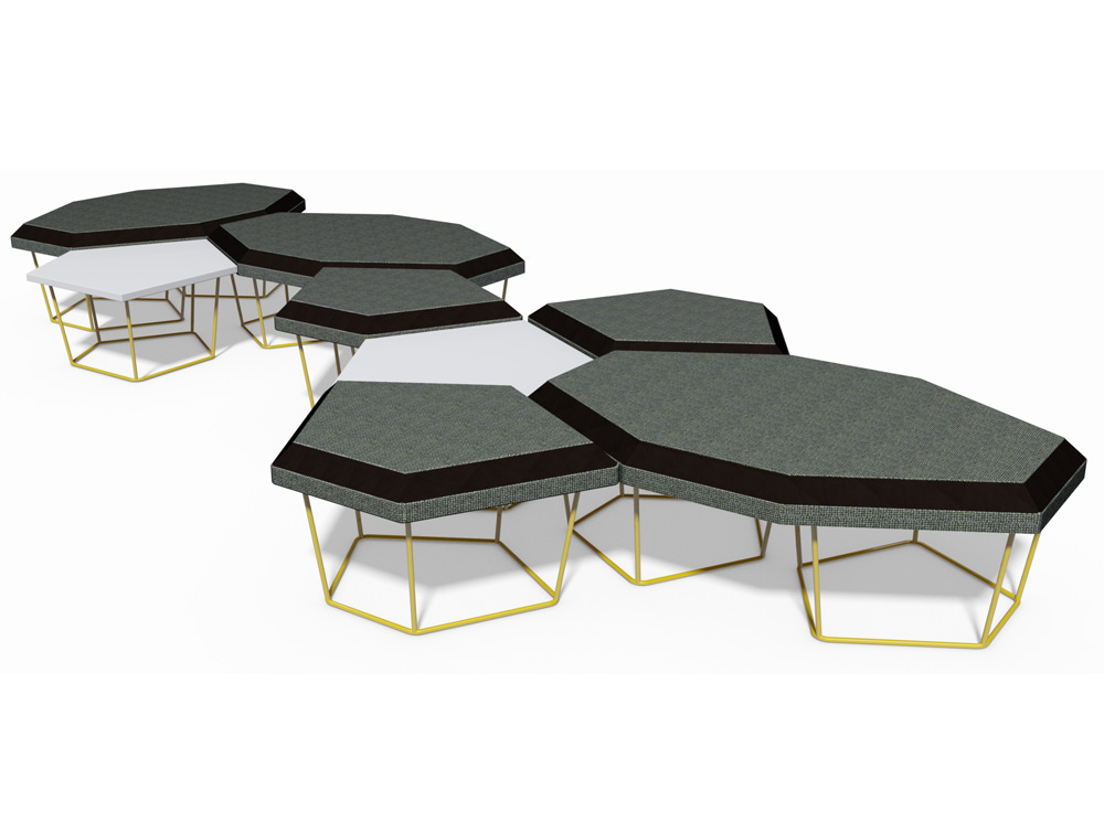 Nest Soft Seating with Power Hub and Yellow Legs