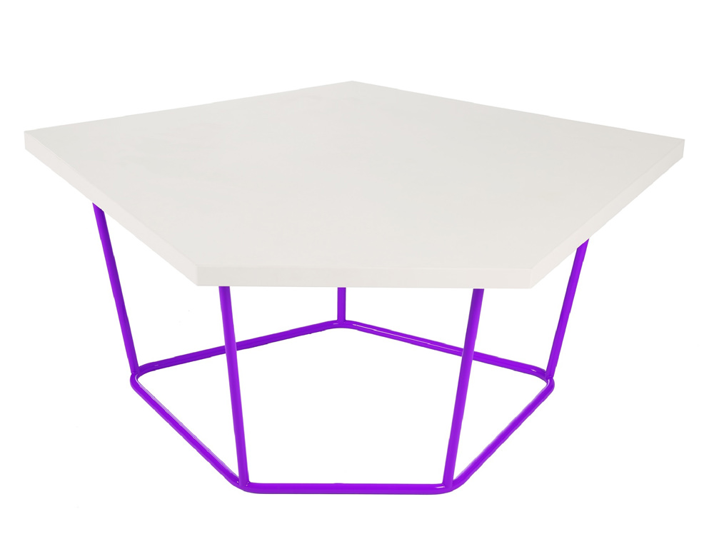Nest Soft Seating with Power Hub Coffee Table with Purple Legs