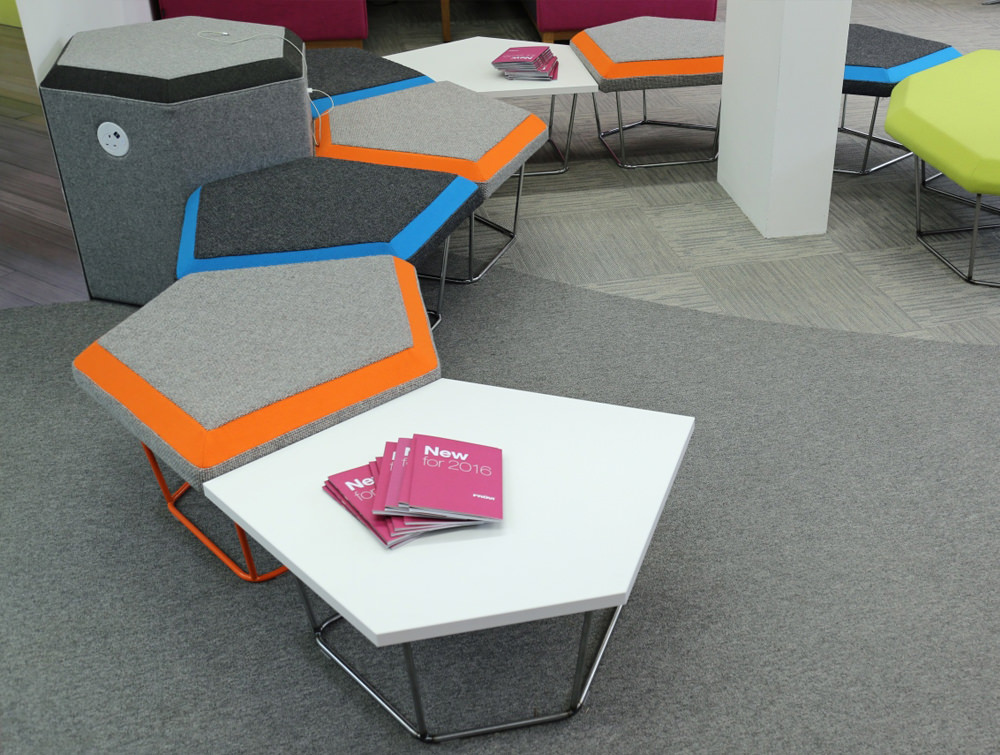Nest Soft Seating with Power Outlet and Black Seats