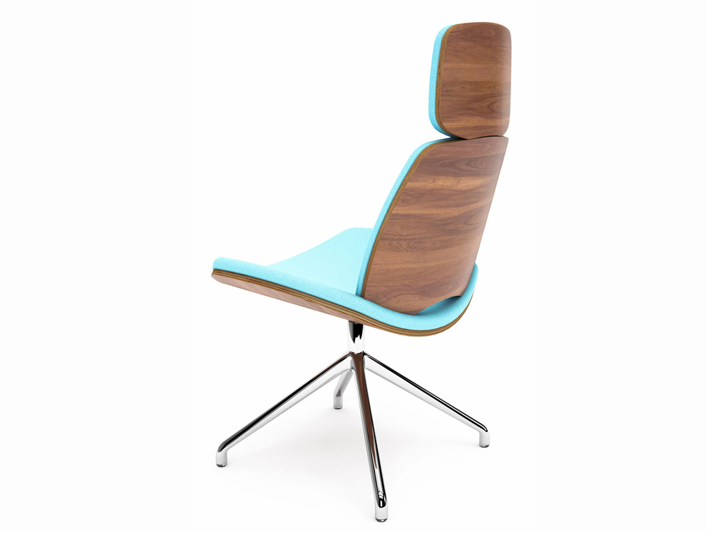 Era Duo Louge Chair with Light Blue Finish and Wooden Back