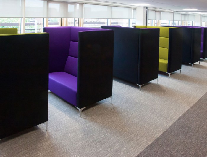Huddle Modular Booth High Seating Pod with Purple and Green Interior Upholstered Finish
