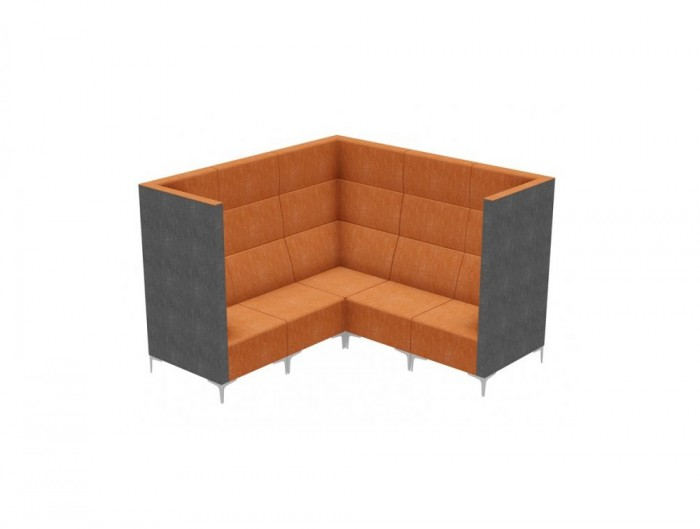Huddle Modular Cave High Seating Pod with Chrome Feet and Orange Finish