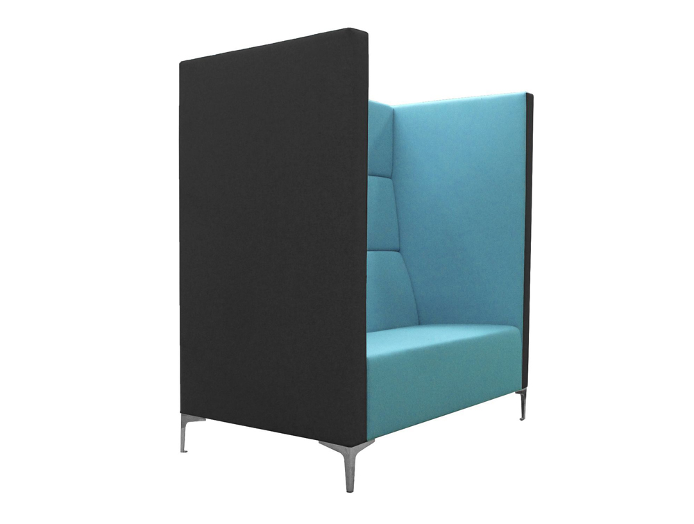 Huddle Modular Cave High Seating with Blue Interior Colour and Black Exterior Finish